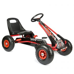 bopster Red & Black Pedal Go Kart with Inflatable wheels on a White Background