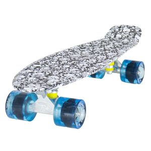 Land Surfer Cruiser Skull Pattern Skateboard Clear Blue Wheels