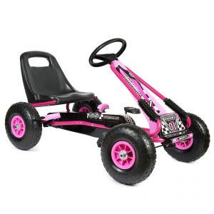 bopster Pink Pedal Go Kart with Inflatable wheels on a White Background