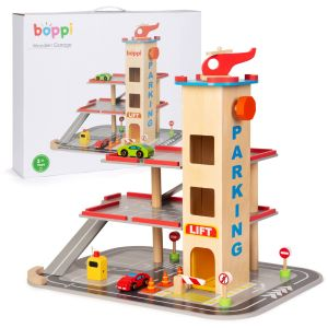 boppi Wooden Toy Garage with Helipad