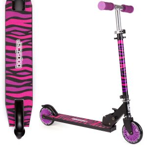 bopster 2 wheeled folding scooter purple zebra