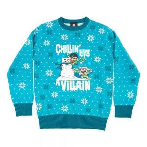 Official DC Comics 'Chillin like a villian' Kids Christmas Jumper / Ugly Sweater - KIDS Age 13+