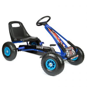 bopster Blue Pedal Go Kart with Inflatable wheels on a White Background