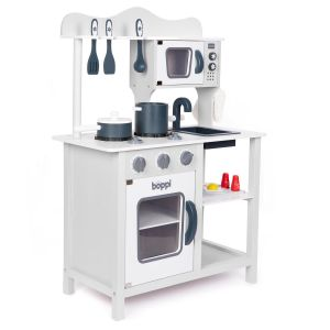 Grey boppi Wooden Play Kitchen with Cooking Utensils and Food Accessories on a White Background