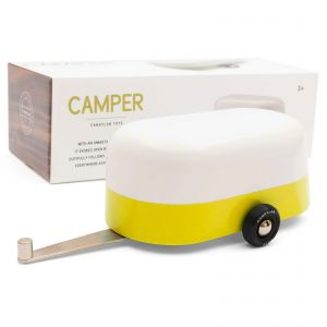 Candylab – Wooden Toy Model Yellow Camper Touring Trailer Vehicle - with box