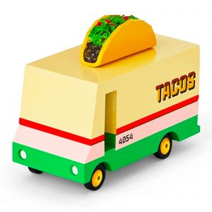 Candylab – Wooden Toy Taco Van Food Truck Yellow and Green Model