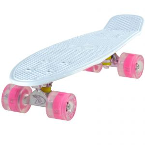 Cruiser Skateboard by Land Surfer White Deck Board and Light Up LED Wheels
