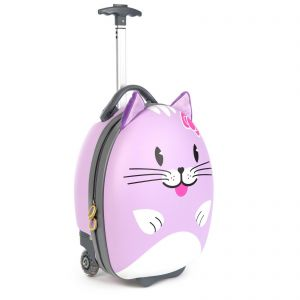 Boppi Tiny Trekker Purple Cat Luggage Case with Extendable Handle on a white background