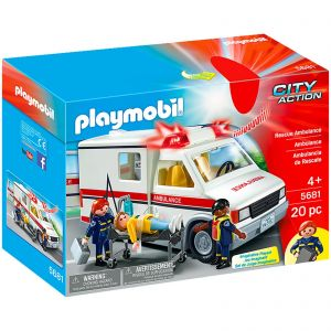 Playmobil Ambulance Service Hospital Medical Emergency Rescue Vehicle with Flashing Lights and Siren - City Action 5681