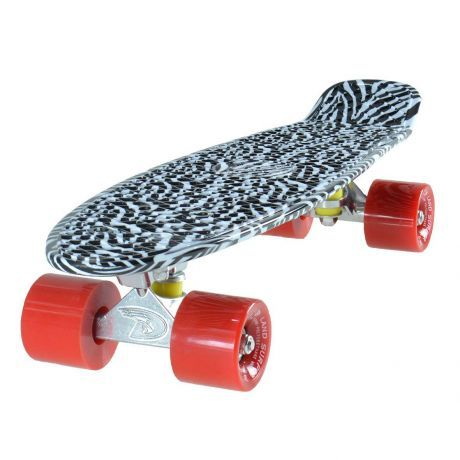Land Surfer Cruiser Black and White Zebra Skateboard Red Wheels