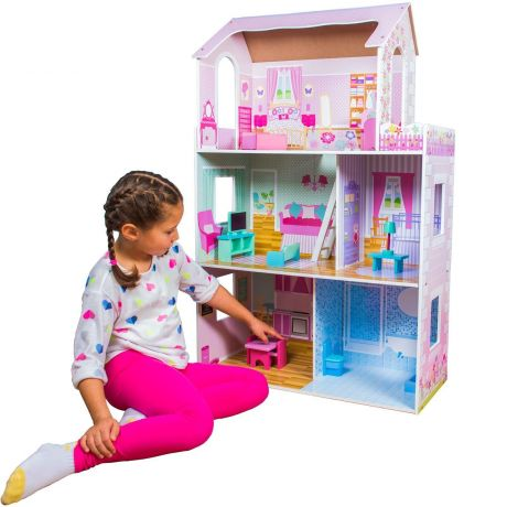 child playing with boppi Luxury Wooden Dolls House with Furniture