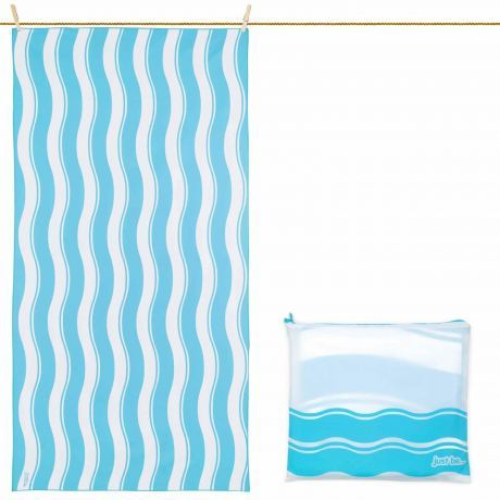 just be... Microfibre Wave Beach Towel - Blue Large 160 x 80cm
