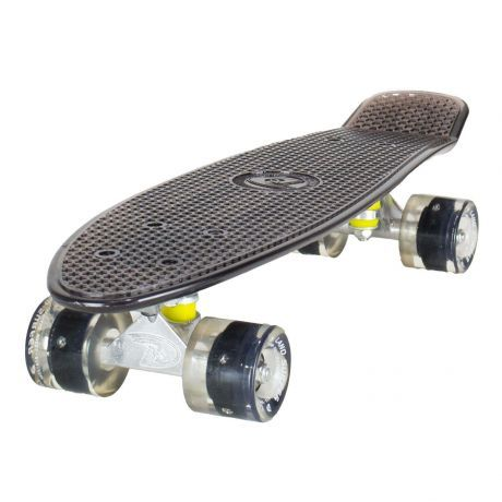 Land Surfer Cruiser Skateboard - Clear Black Board - LED Black Wheels