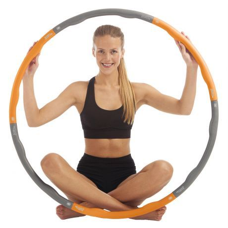just be Orange and Grey 1.2kg Weighted Fitness Hula Hoop Complete with Model