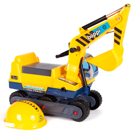 Yellow boppi ride on excavator digger with play safety helmet for ages 12 months to 3 years