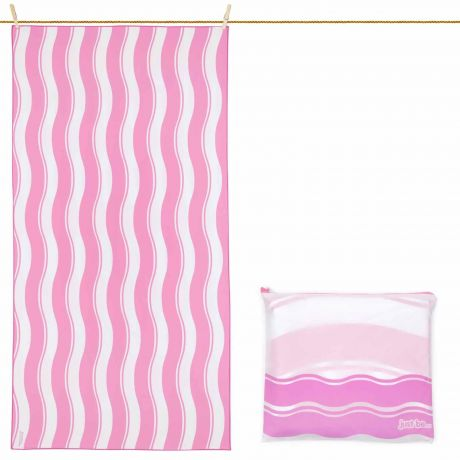 just be... Microfibre Wave Beach Towel - Pink Large 160 x 80cm