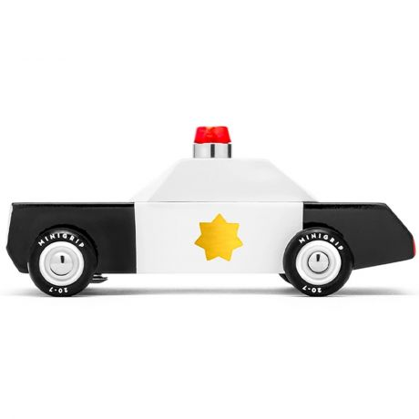 Candylab – Wooden Toy Junior Police Department Cruiser Black and White Vehicle side view