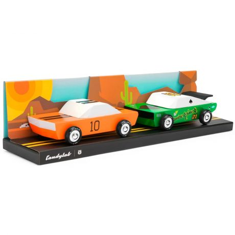 Candylab – Wooden Toy Junior Desert Race Twin Pack Set GT10 Orange and Green Racer Vehicles