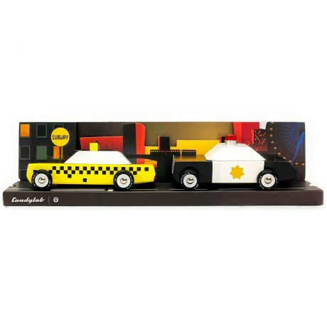 Candylab – Wooden Toy Junior City Twin Pack Set Police Department and Yellow Taxi Cab Vehicles