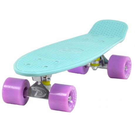 Land Surfer Cruiser Skateboard with Ice Blue Deck Board and Ice Purple Wheels