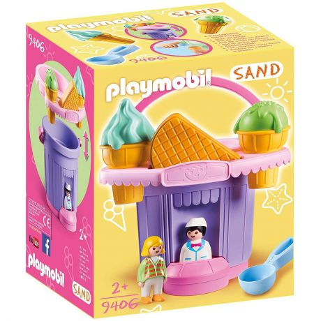 Playmobil 9406 Sand Ice Cream Shop Sand Bucket with Sieve and Waffle Moulds