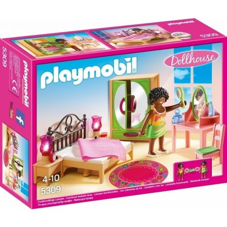 Playmobil 5309 Dollhouse Master Bedroom with functional bedside lamps in full colour packaging