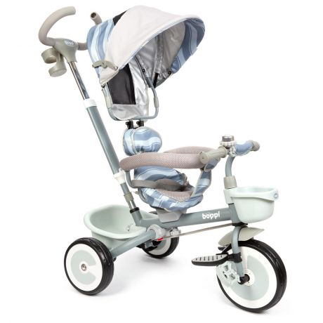 A photo of a 4 in 1 boppi toddler stroller and kids tricycle with grey wave design on a white background. For ages 9 months to 5 years. Available from bopster.co.uk.