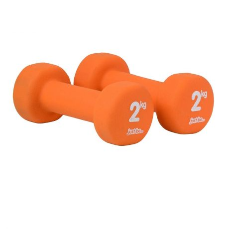 Just Be Orange 2kg Fitness Dumbbells Twin Pack Side View
