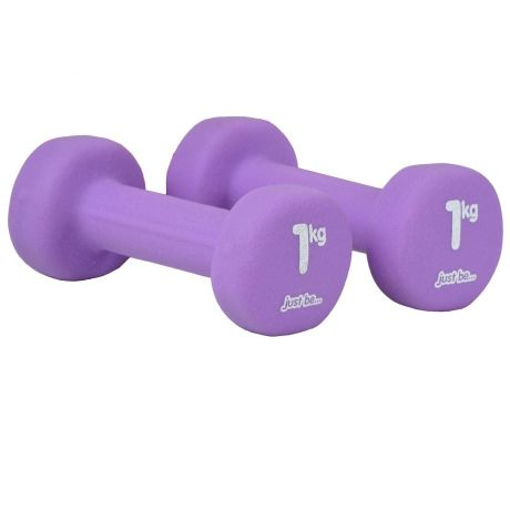 just be Purple 1kg Fitness Dumbbells Twin Pack Side View