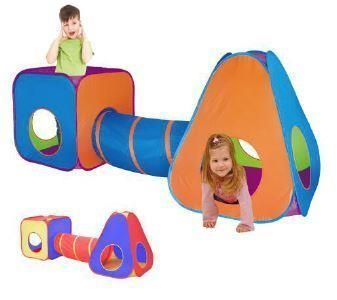 2 Tent Pop-Up Tunnel Playset - Cube & Pyramid