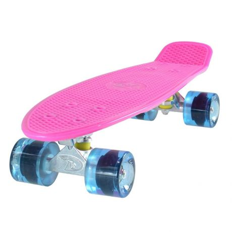 Land Surfer Cruiser Pink Skateboard Transparent Blue Wheels