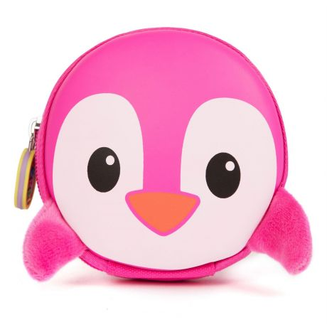 boppi Tiny Trekker Keychain Pouch - Pink Penguin - front view