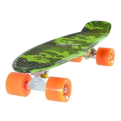 Land Surfer Cruiser Camouflage Skateboard Orange Wheels