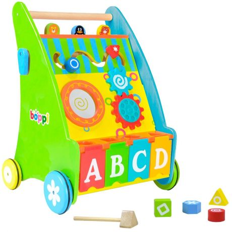 boppi Wooden Activity Baby Walker by bopster Angled Main View With Drumstick and Shape Blocks