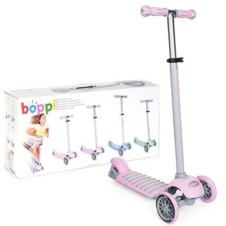 boppi 3-Wheeled Scooter - Pink - front and side views