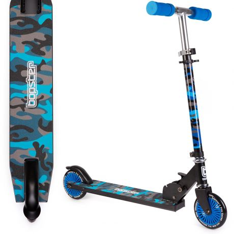 bopster 2 wheeled folding scooter blue camo side view and view above