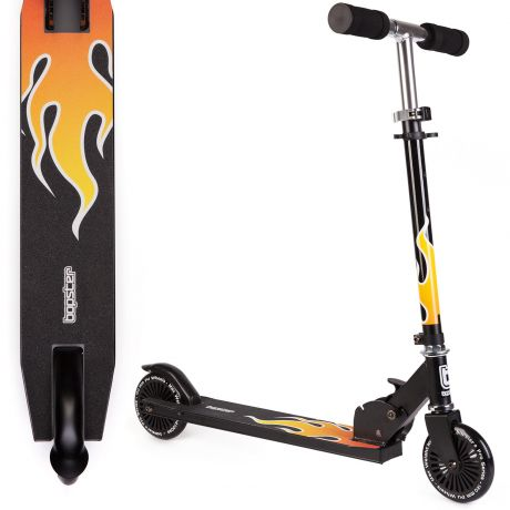 bopster 2 wheeled folding scooter flame view from side and above