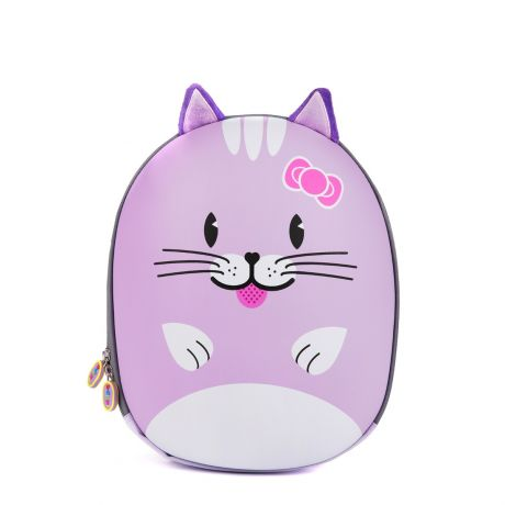 Purple cat backpack facing the front with a white background