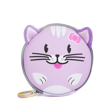Purple cat keychain pouch on a white background