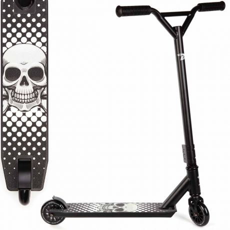 Black Skull Land Surfer Stunt Scooter with Deck Design View on a White Background