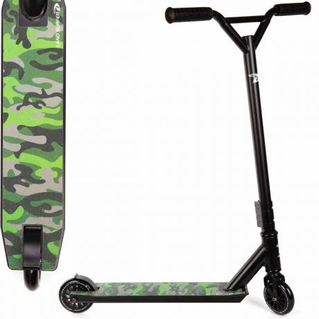 Green Camo Land Surfer Stunt Scooter with Deck Design View on a White Background