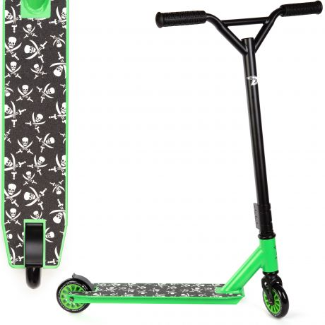 Green with Small Skulls Land Surfer Stunt Scooter with Deck Design View on a White Background