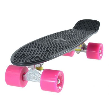 Land Surfer Cruiser Skateboard - Black Board - Pink Wheels
