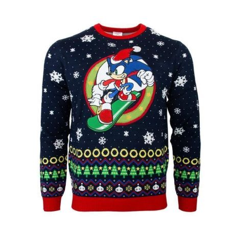 Sonic the Hedgehog Snowboarding Christmas Jumper / Ugly Sweater - UK L / US M