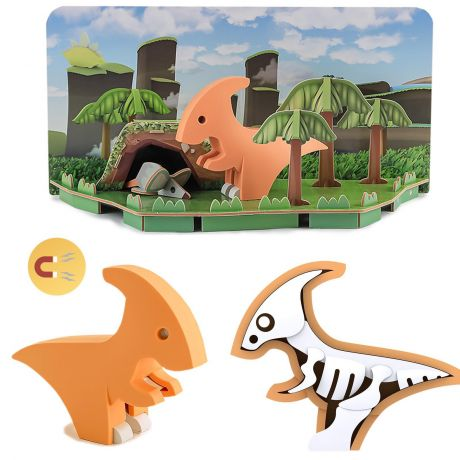 Halftoys Magnetic 3D Dino Jigsaw Puzzle - Parasaurolophus