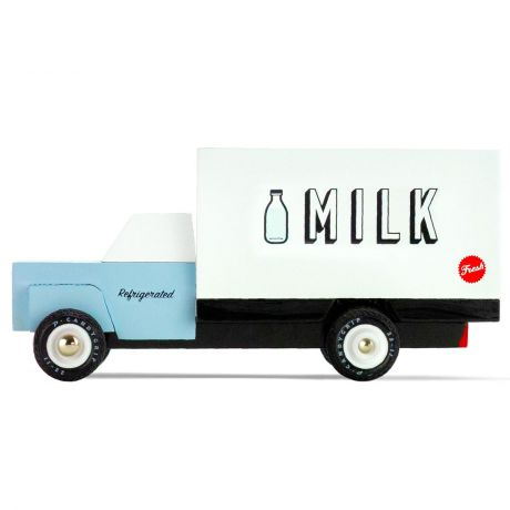 Candylab – Wooden Toy Milk Delivery Van Vehicle Blue and White