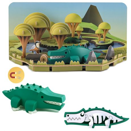 Halftoys Magnetic 3D Animal Jigsaw Puzzle - Crocodile
