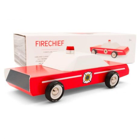 Candylab – Wooden Toy Racing Model Fire Chief Vehicle Red