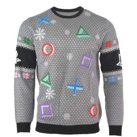 PlayStation Symbols Christmas Jumper / Ugly Sweater Grey - UK XS / US 2XS