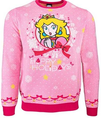 Nintendo Princess Peach Christmas Jumper / Ugly Sweater UK XS / US 2XS